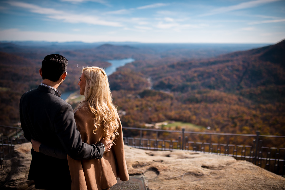 Fall Mountain Engagement Photos | Chimney Rock State Park