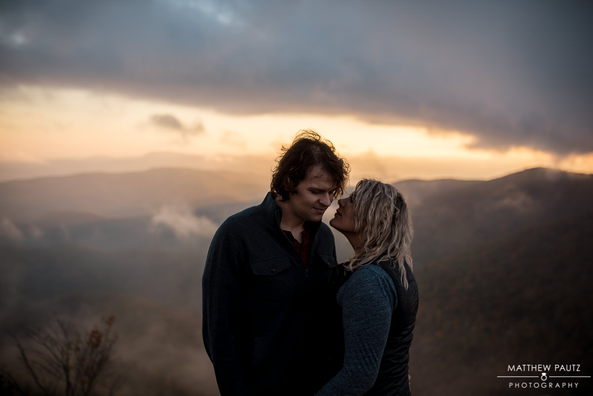 Blue Ridge Parkway mountain engagement photos in the Fall