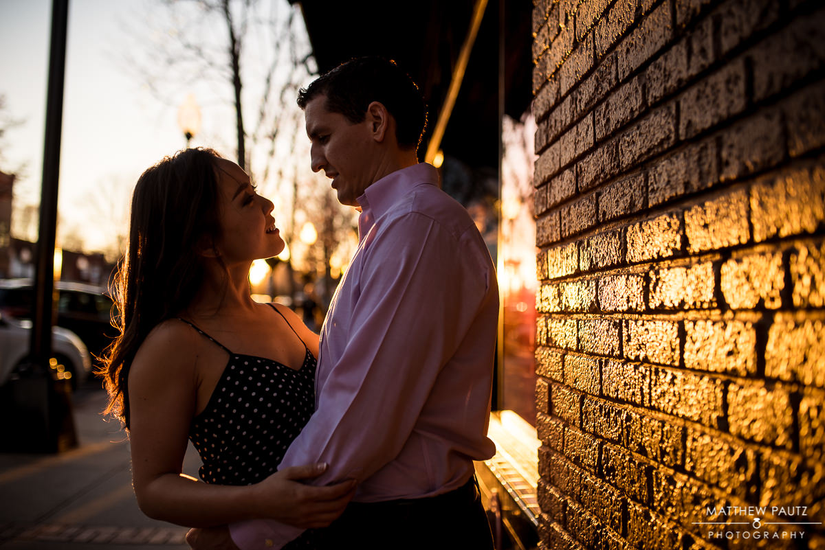 Downtown Greenville engagement photos at sunset