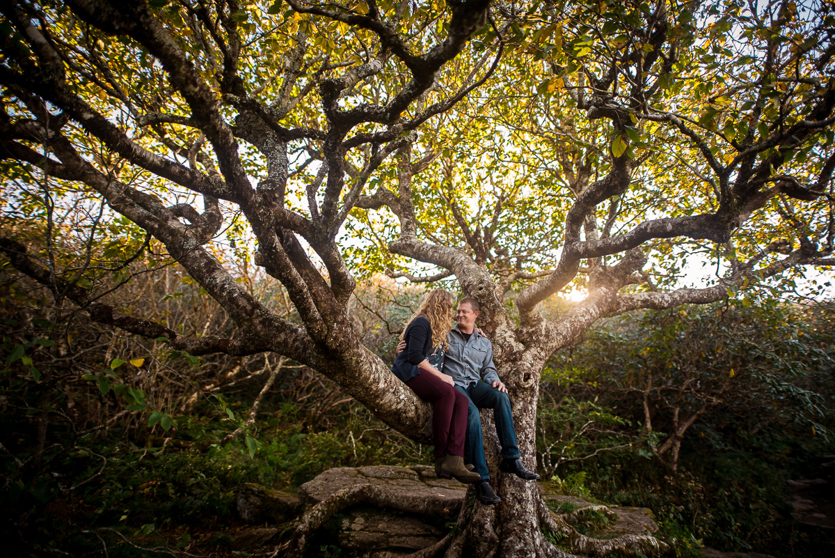 Fall mountain engagement photos at Craggy Gardens NC