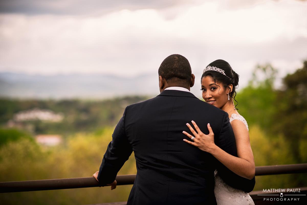 outdoor wedding photos at Crest Center in Asheville