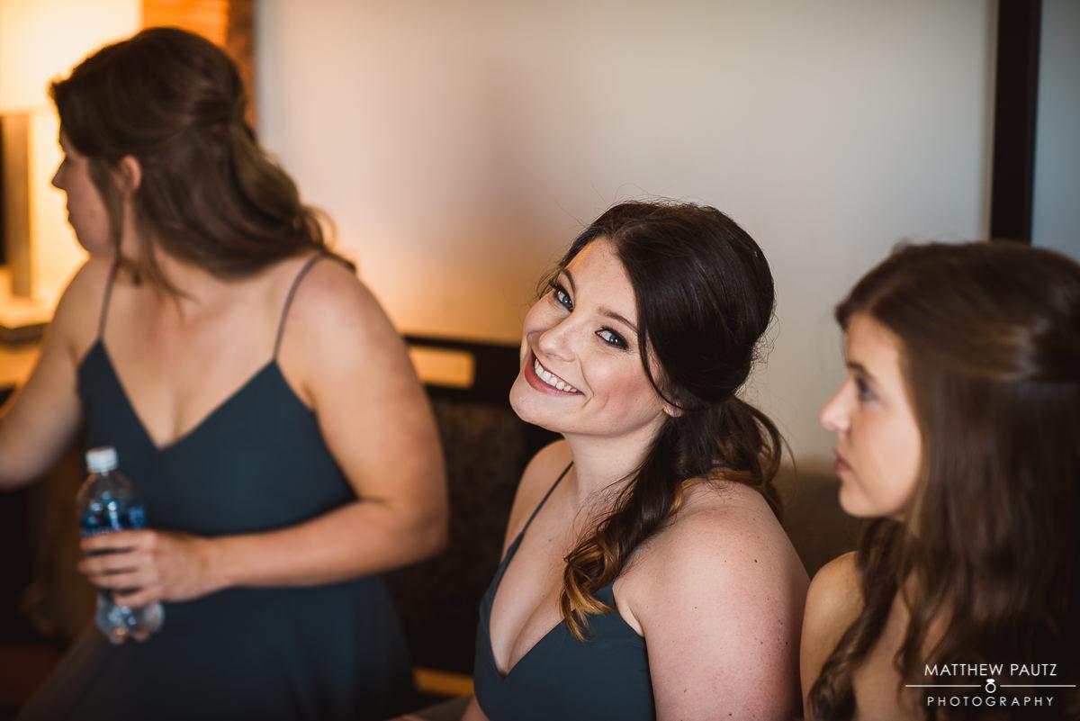 Bridesmaid smiling before wedding