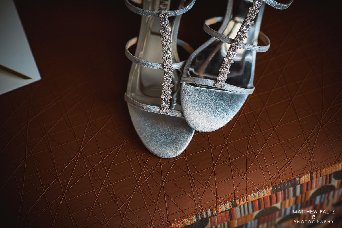 Closeup of bride's shoes