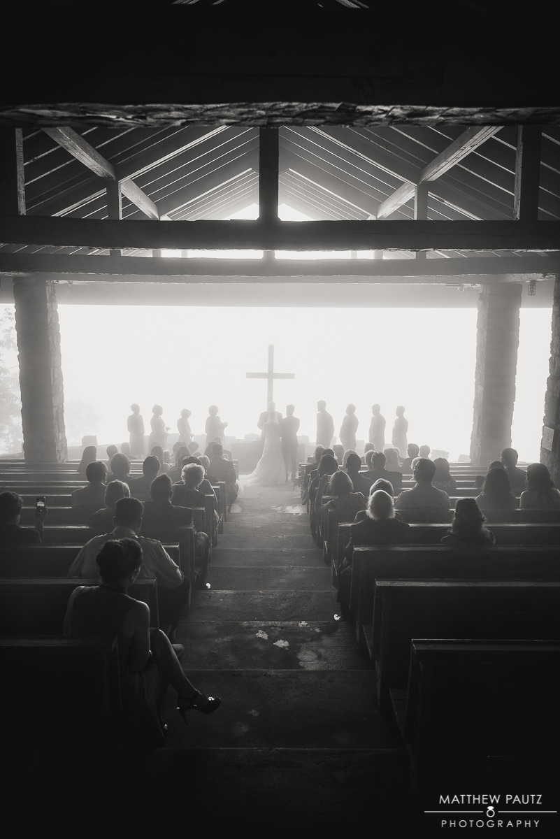 Wedding ceremony at Pretty Place Chapel during storm