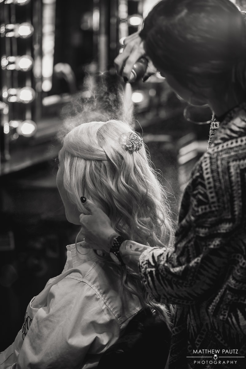 Bride getting ready at Lava salon in Charleston