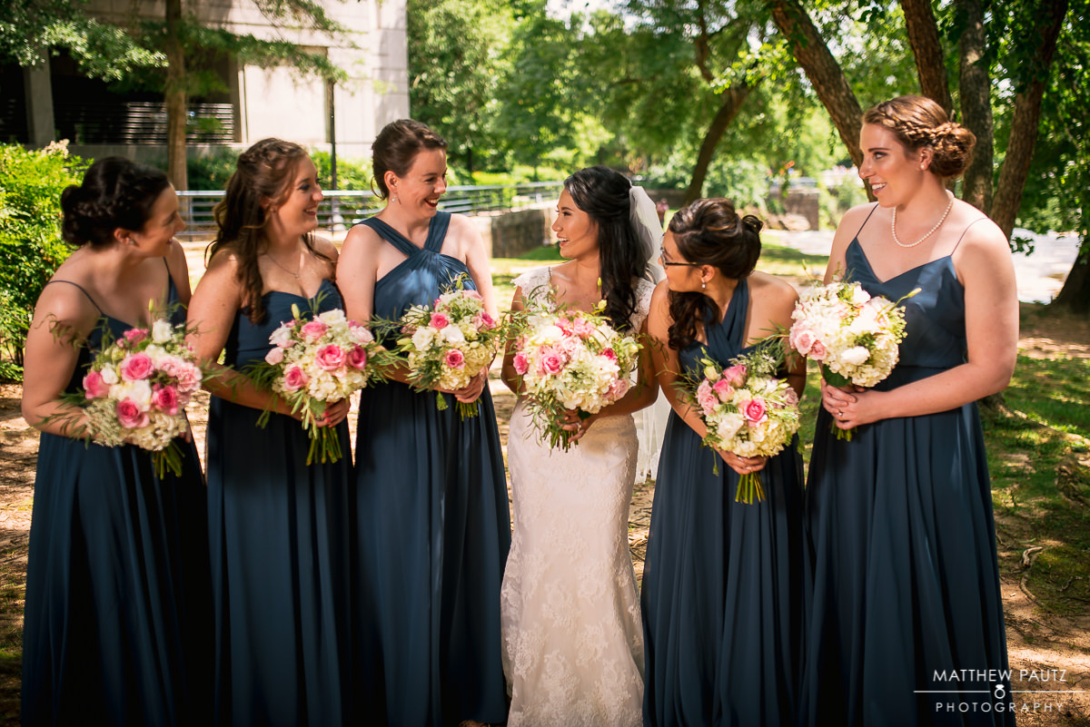 Bridesmaids and bride hanging out in Falls park