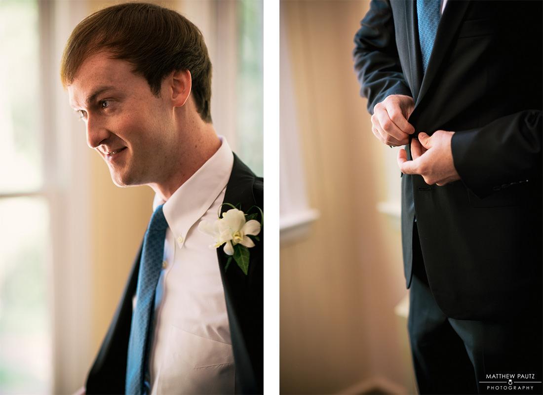Groom getting ready for wedding ceremony