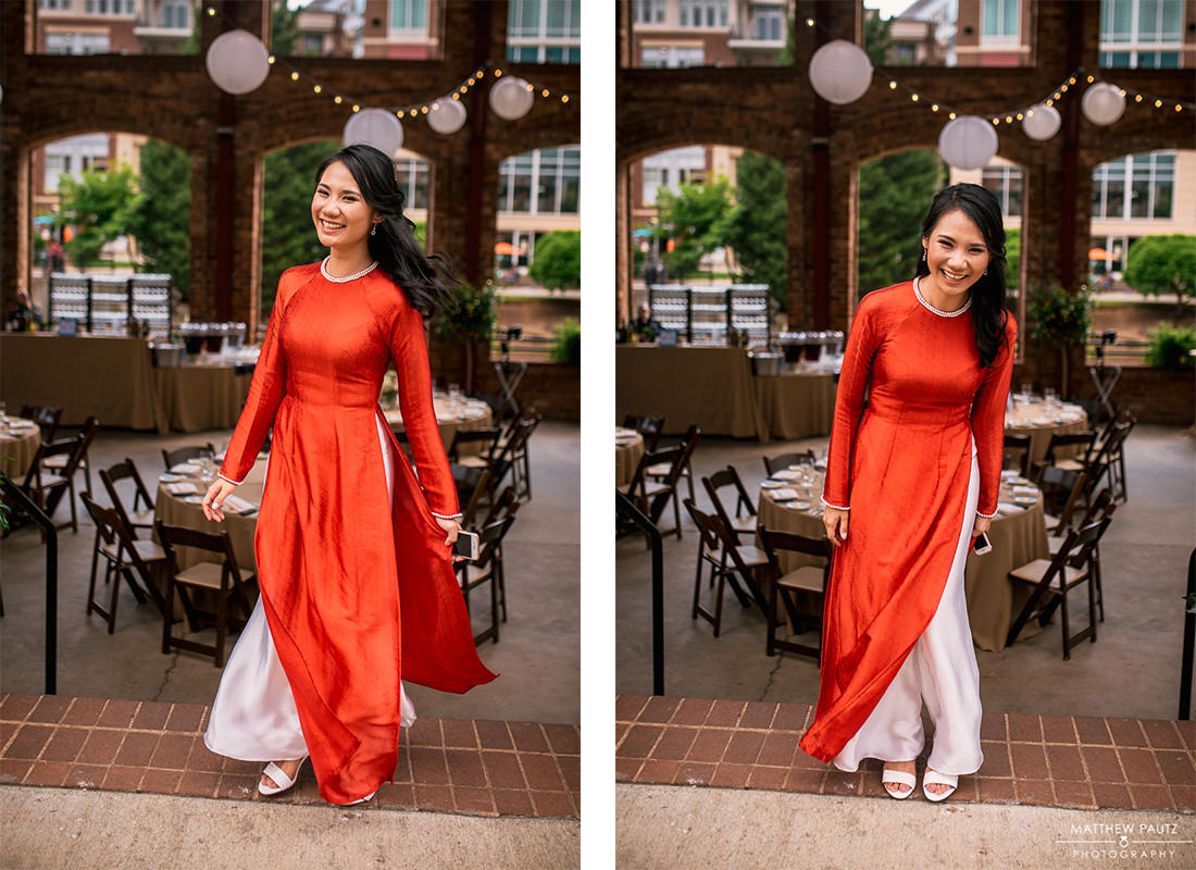 bride in traditional vietnamese wedding dress