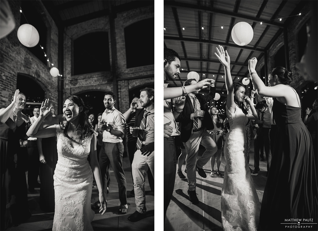 bride dancing at wyche pavilion wedding reception